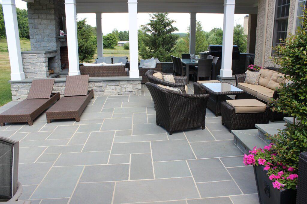 clean stone patio design