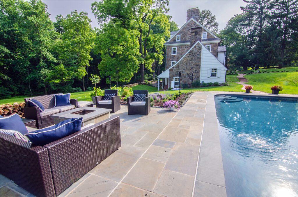 stone patio around pool