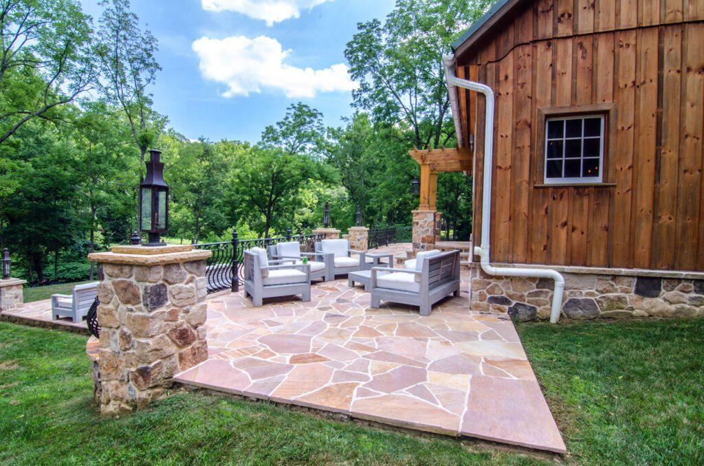 stone patio by barn