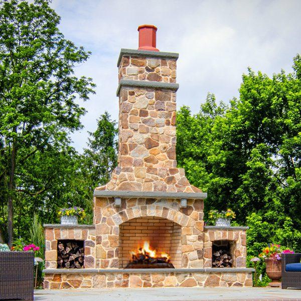 Round Fieldstone Fireplace